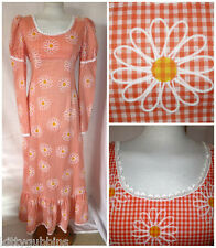 "~ SUPER FAB VINTAGE 1960S 60S  GINGHAM DAISY PRINT MAXI SUMMER DRESS 36"" BUST ~"