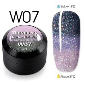 1pcsTemperature Change Glitter Color Gel Polish Thermal Magic Effect Nail w07