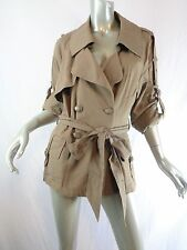 Nanette Lepore Khaki Double Breasted Belted Trench Coat Sz 10