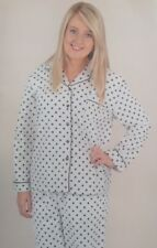 Womens Pyjamas Warm Brushed Cotton PJS Ivory & Black Spotted Design Size 16 NEW