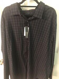 3XLT Tall Man Perry Ellis NWT Blue Plaid Sleeve Button Up Shirt