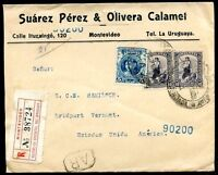 URUGUAY TO USA Registered Cover 1908, VF