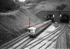 PHOTO  DMU 3 CAR SUBURBAN SET EMERGING FROM NEWPORT TUNNEL AND PASSING GAER JUNC