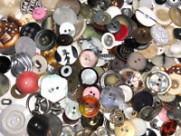 100 pcs MIXED LOT of OLD-VINTAGE & NEW Buttons ALL TYPES & SIZES
