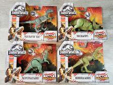 Lot of 4 Jurassic World Battle Damage Raptor Blue Triceratops Herrasaurus Pachy