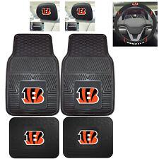7pc NFL Cincinnati Bengals Heavy Duty Rubber Floor Mats & Steering Wheel Cover