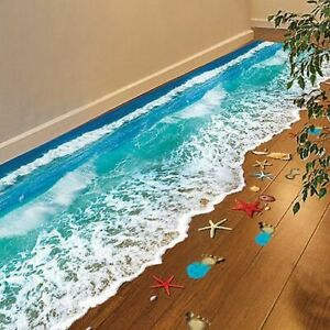 Beach 3D Floor Sticker Wall Vinyl Art Removable Mural Decals Living Room Decors