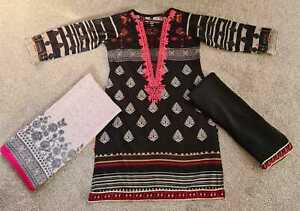 Black New Marina Pakistani Indian Salwar Kameez Ladies Stitched suit 3 PC Gift