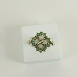 9ct Gold Opal & Emerald Ring Natural Cluster Ring Size N with Gift Box