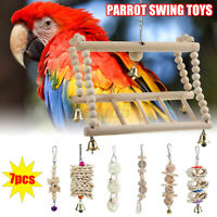 7 Packs Bird Parrot Swing Chewing - Natural Wood Hanging Bell Bird Cage