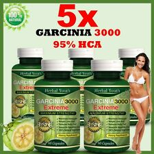 5 Pack GARCINIA CAMBOGIA 95% HCA 3000mg Weight Loss Fat Burner Diet Pills