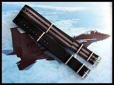 16mm Black Grey bond stripe NATO ® g10 watch band nylon strap IW SUISSE 18 20 22