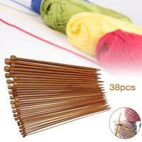 36Pcs 18 Size 1 Set Carbonized Bamboo Single Pointed Crochet Knitting Needles MT