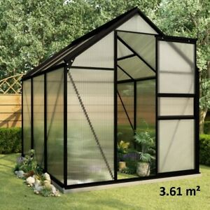 Large Greenhouse w Base Frame Walk In Garden Grow Flower Shed Polycarbonate 3.6m