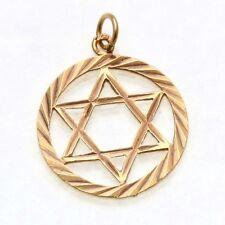 Vintage 14k yellow gold Jewish Star of David encircled Pendant Judaica Estate