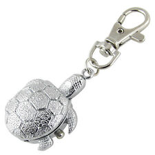 SODIAL(R) Textured Silver Tone Turtle Pendant Hunter Case Key Ring Watch
