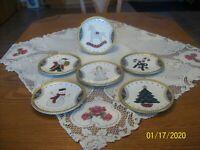 Christmas Holiday Set Of 6 Decorative Plates Gold Beaded Creamic Porcelain