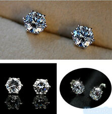 18K White Gold Plated Stud Earrings Round Brilliant Cut white CZ's Nickel Free