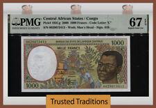 TT PK 102Cg 2000 CENTRAL AFRICAN STATES / CONGO 1000 FRANCS PMG 67 EPQ SUPERB!