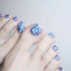 False Toe Nails Blue Flower Full Artificial Press On Toenails Blooming with Glue