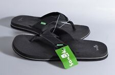 NEW Sanuk Beer Cozy Flip Flops Men's Sandals 13 MED Shoes Thongs Black SMS2839C