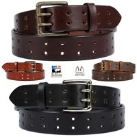 DOUBLE HOLE DUAL PRONG BELT - Thick Wide Heavy Duty 4 Colors Amish Handmade USA