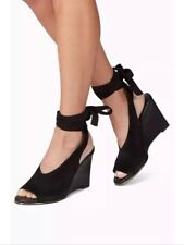 New🌷Next🌷Size 8 Black Suede Leather Wedge Shoes Sandal Tie Lace Up Strap Eu 42