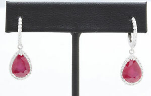 8.95 Carat Natural Red Ruby and Diamond in 14K Solid White Gold Earrings