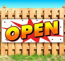 Open Business Advertising Vinyl Banner Flag Sign 15 18 20 24 30 48 52