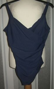 John Lewis Control Cross Front Swimsuit, Navy Size UK 12 or 16