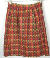 Vintage Women's Adele Simpson Skirt Wool Red Plaid Side Pocket Button Sz M L