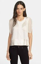 NEW IRO 'Bessie' Sheer Panel TOP SILK BLOUSE Size US 8 FR 40 $288  BEIGE