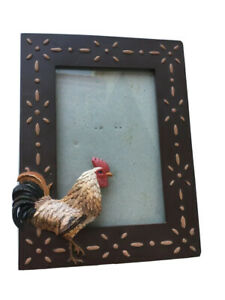 Chicken Rooster Bird Picture Frame with Hand Stitching Style Design Brown