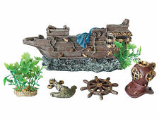 Decorative Aquarium 5 piece Set Air Bubble Galleon Fish Tank Ornaments