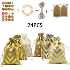 24pc Christmas Advent Calendar Tree Decoration Hanging Sacks Pouches Bags Gift