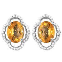 Ohrringe/Ohrstecker Liv, 925er Silber, 3,48 Kt. echt Mandarin Citrin/Diamant