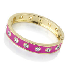 Gold Colour Crystal Pink Enamel Hinged Bangle Special Offer