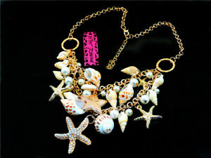 Jewelry pendant Betsey Johnson Charm Pearl Starfish Conch Golden Chain Necklaces