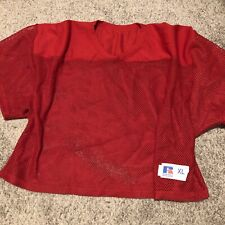 New Vintage Russell Athletic Blank Sports Jersey Red 3/4 Crop Mesh Nos Sz. Xl
