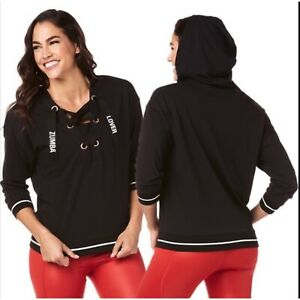 Zumba NWT Lover Laced Up Pullover Marvelous Black