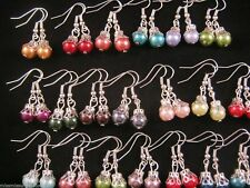 5 Pairs of ORNATE Multi Colour GLASS PEARL Bead Earrings NEW Fashion Jewellery