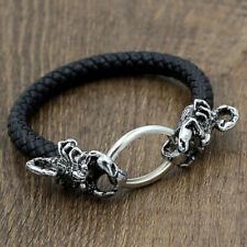 Men's Bracelet Stainless Steel Scorpion Black Braided Leather Punk Bangles Cuff