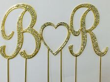 GOLD Rhinestone Covered Monogram Initial Letter Wedding Heart Cake Topper Set