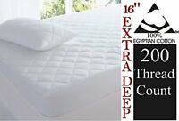 Egyptian Cotton Quilted Mattress Protectors 16 inch Extra Deep Double King Size