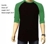 3/4 Sleeve Raglan Baseball Mens Plain Tee Jersey Sports TShirt Black Green 2XL