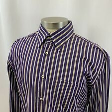 Mens PETER MILLAR Striped Long Sleeve Button Down Front Shirt Size Large Lg L