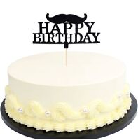 Black Moustache Glitter Paper Letters Happy Birthday Cake Toppers Kids Boy