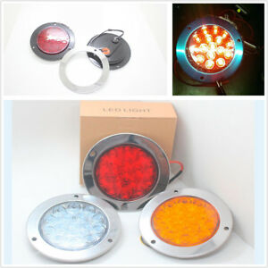 Car Truck 16-LED 12V-24V Round Clear Lens Red Tail Lights Back-up Reverse Lamps