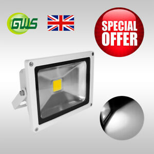 20W White Casing LED Floodlight Day White IP65 Waterproof Garden Security Light