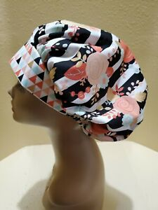 Peach and Gold Roses Women's Bouffant Surgical Scrub Hat/Cap Handmade